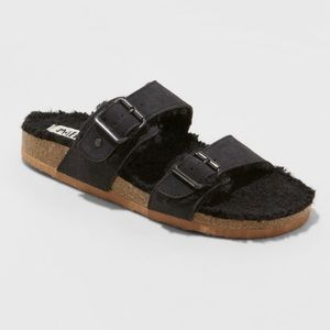 Mad Love Black Kali Sherpa Footbed Sandals 7M